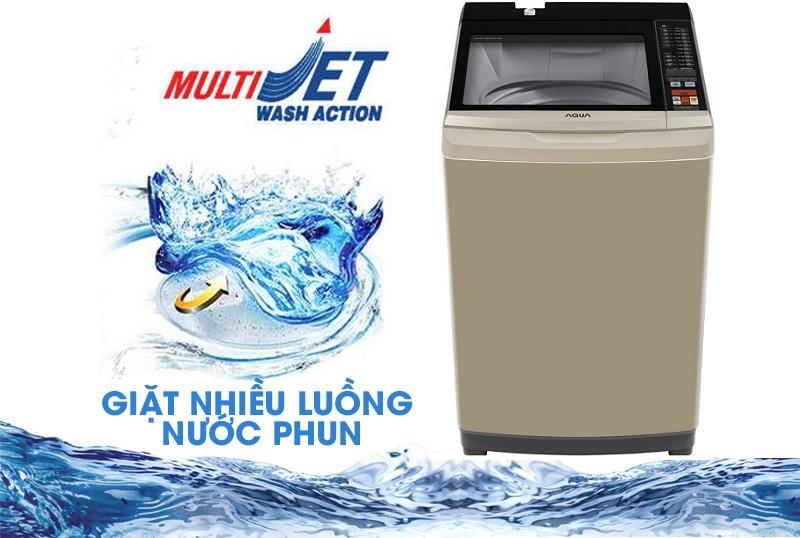 Chế độ giặt nhiều luồng nước phun MultiJet loại bỏ mọi cặn bột giặt còn bám trên quần áo