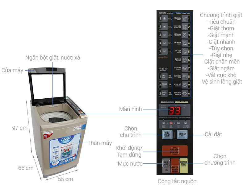 Thông số kỹ thuật Máy giặt Aqua Inverter 9 kg AQW-DW90AT N
