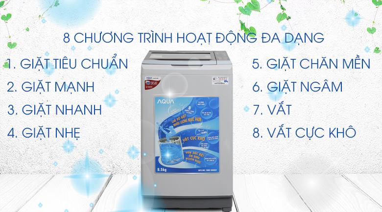 8 chương trình giặt - Máy giặt Aqua 8.5 kg AQW-S85AT H