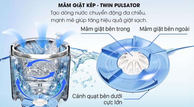 Mâm giặt kép Twin Pulsator - Máy giặt Aqua 9 kg AQW-W90AT N