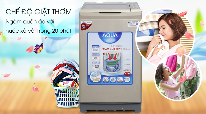 Chế độ giặt thơm - Máy giặt Aqua 9 kg AQW-W90AT N