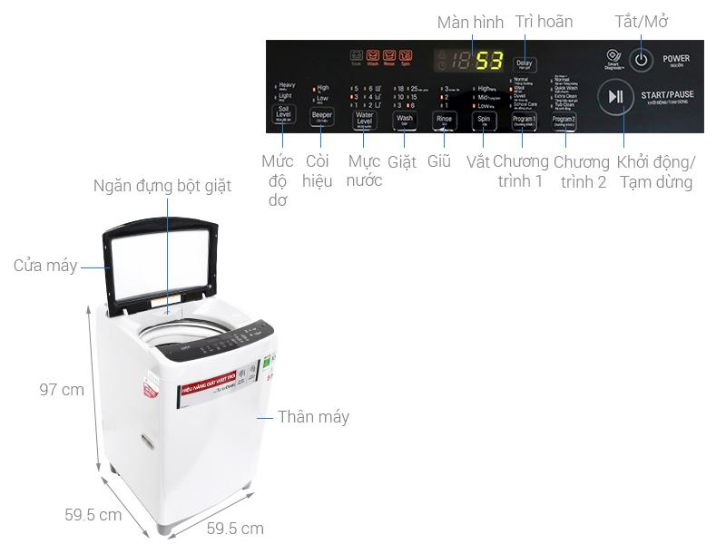 Thông số kỹ thuật Máy giặt LG Inverter 9.5 kg T2395VS2W