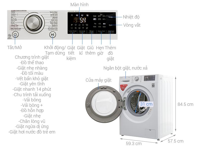 Thông số kỹ thuật Máy giặt LG Inverter 9 kg FC1409S3W