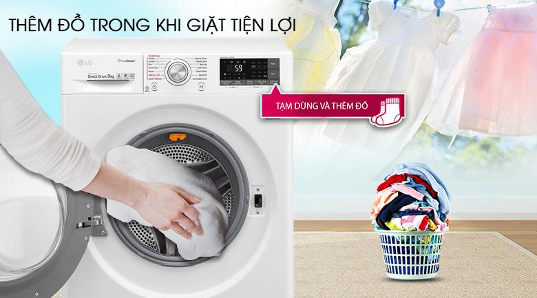 Thêm đồ trong khi giặt - Máy giặt LG Inverter 9 kg FC1409S3W