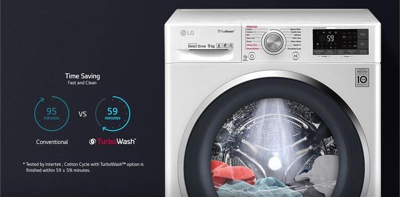 Công nghệ TurboWash - Máy giặt LG Inverter 9 kg FC1409S3W
