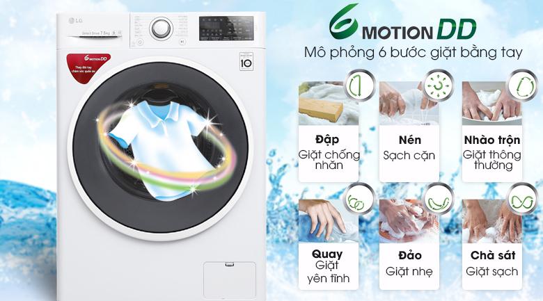 Công nghệ giặt 6 chuyển động - Máy giặt LG Inverter 7.5 kg FC1475N4W