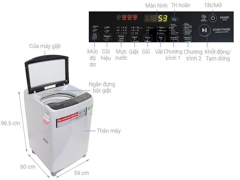 Thông số kỹ thuật Máy giặt LG Inverter 8.5 kg T2385VS2M