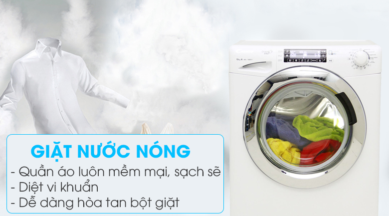Giặt nước nóng- Máy giặt Candy Inverter 10 kg GVF1510LWHC3/1-S