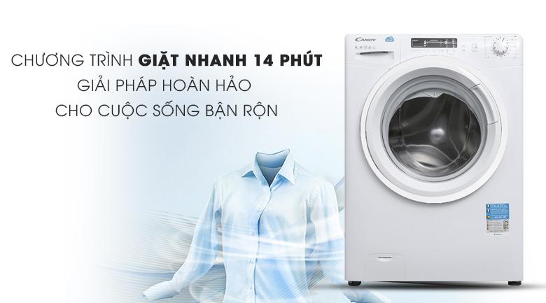 Giặt nhanh 14 phút - Máy giặt Candy 8 kg HCS 1282D3Q/1-S