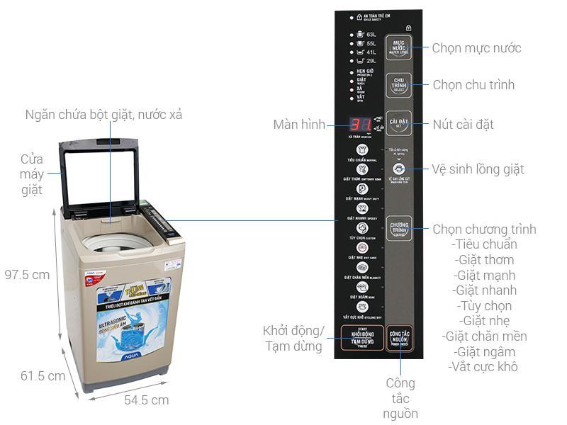 Thông số kỹ thuật Máy giặt Aqua 8 kg AQW-U800BT N