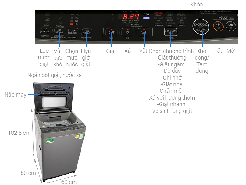 Thông số kỹ thuật Máy giặt Toshiba Inverter 10 kg AW-DUH1100GV
