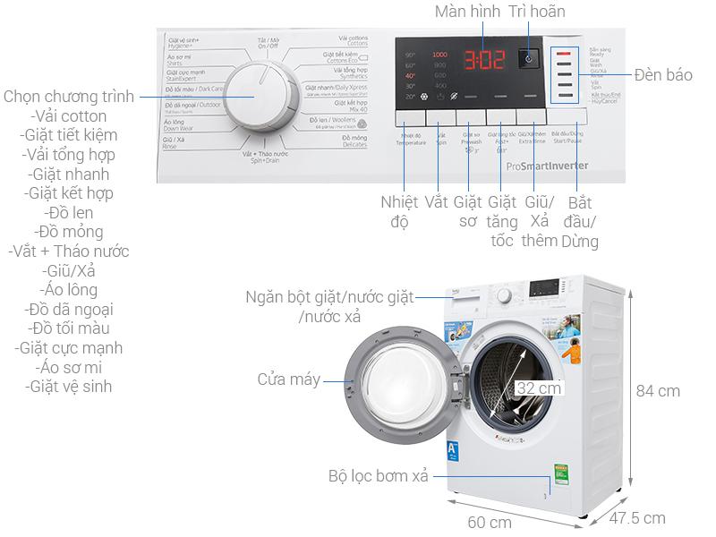 Thông số kỹ thuật Máy giặt Beko Inverter 7 kg WTE 7512 XS0