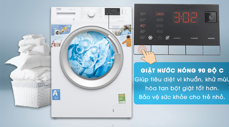 Giặt nước nóng - Máy giặt Beko Inverter 7 kg WTE 7512 XS0