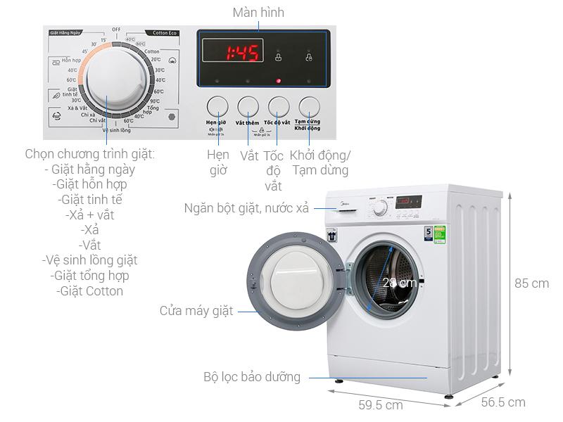 Thông số kỹ thuật Máy giặt Midea 8 kg MFD80 - 1208