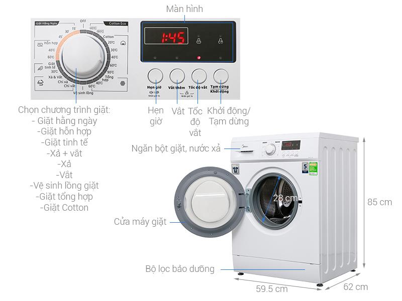 Thông số kỹ thuật Máy giặt Midea 9 kg MFD90 -1208