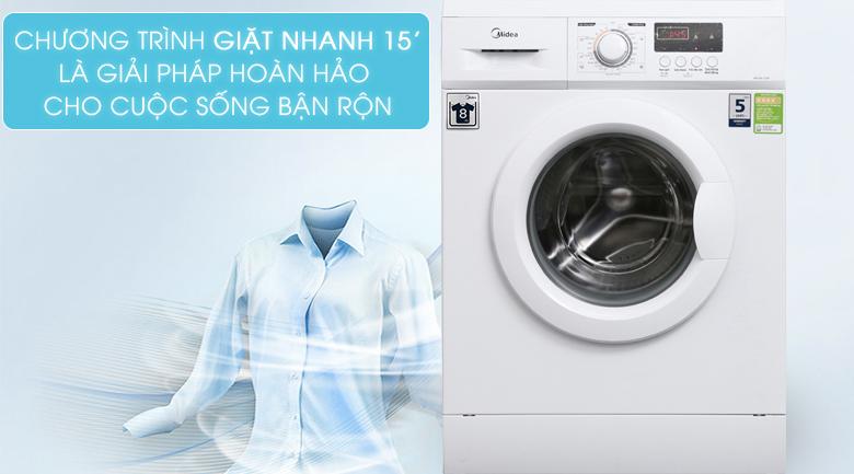Chương trình giặt nhanh 15 phút - Máy giặt Midea 9 kg MFD90 -1208