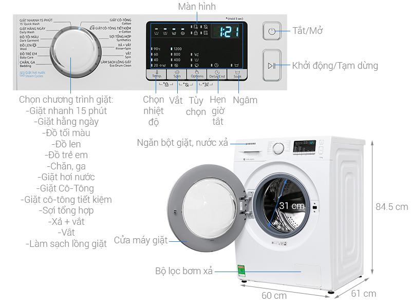 Thông số kỹ thuật Máy giặt Samsung Inverter 7.5 kg WW75J42G0KW/SV