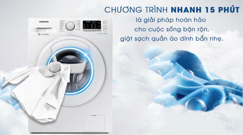 Giặt nhanh 15 phút - Máy giặt Samsung AddWash Inverter 7.5 kg WW75K52E0WW/SV