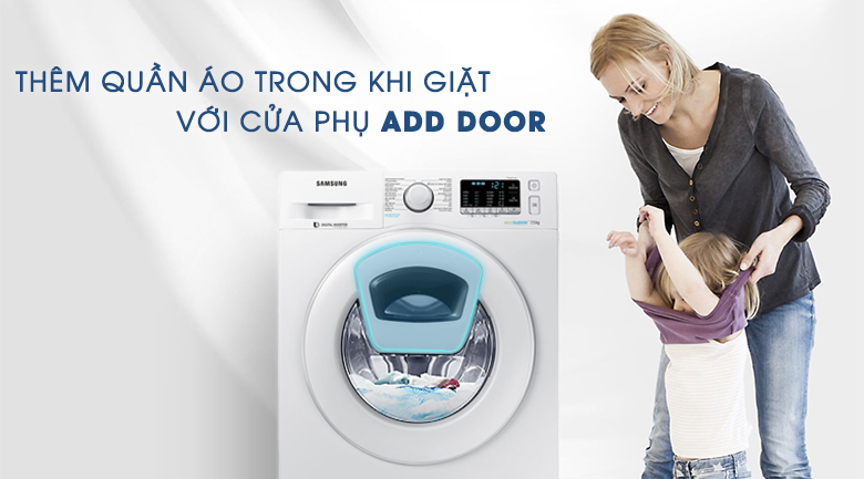 Add door - Máy giặt Samsung AddWash Inverter 7.5 kg WW75K52E0WW/SV