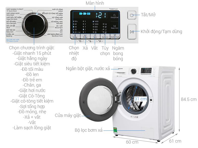 Thông số kỹ thuật Máy giặt Samsung Inverter 8 kg WW80J54E0BW/SV