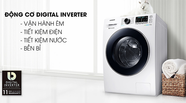 Công nghệ Digital Inverter - Máy giặt Samsung Inverter 8 kg WW80J54E0BW/SV