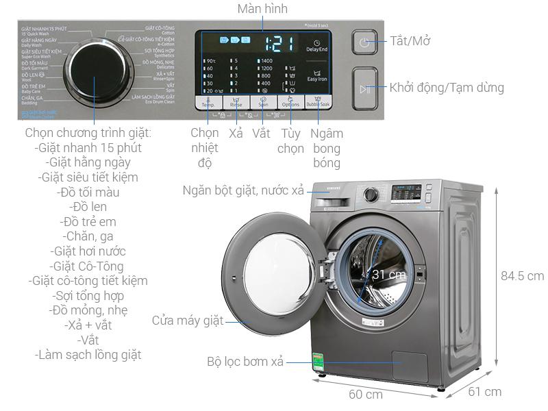 Thông số kỹ thuật Máy giặt Samsung Inverter 8 kg WW80J54E0BX/SV