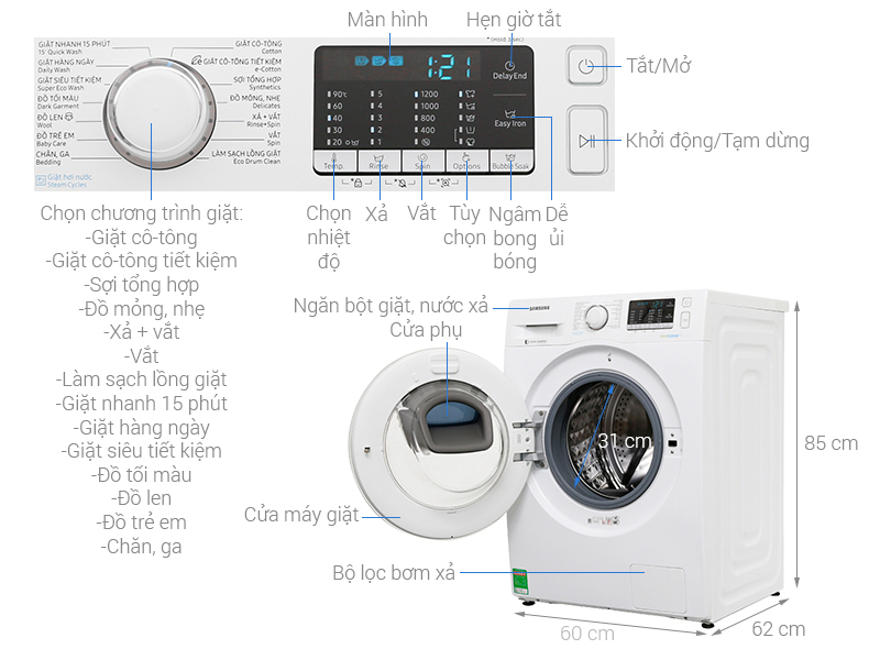 Thông số kỹ thuật Máy giặt Samsung AddWash Inverter 8 kg WW80K52E0WW/SV