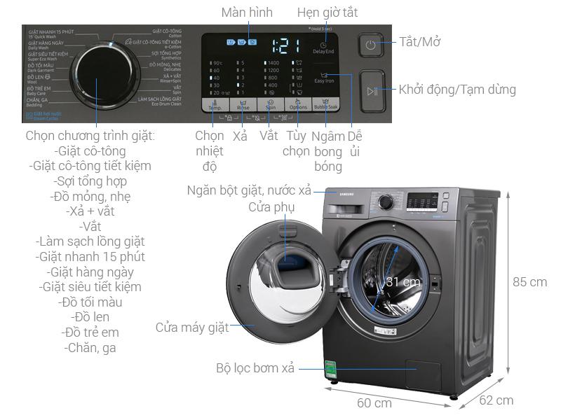 Thông số kỹ thuật Máy giặt Samsung AddWash Inverter 8.5 kg WW85K54E0UX/SV