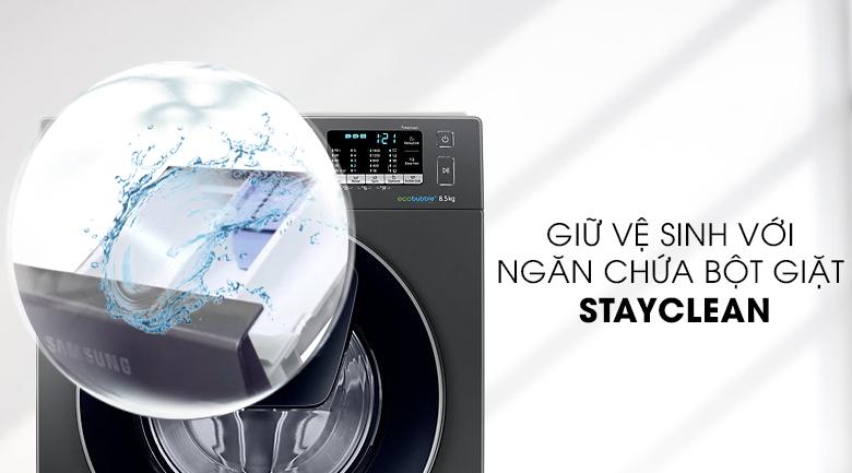 Ngăn chứa bột giặt StayClean - Máy giặt Samsung AddWash Inverter 8.5 kg WW85K54E0UX/SV