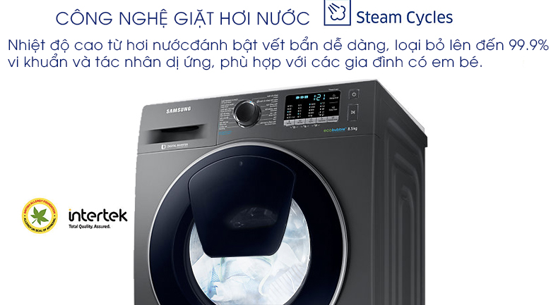 Giặt hơi nước - Máy giặt Samsung AddWash Inverter 8.5 kg WW85K54E0UX/SV