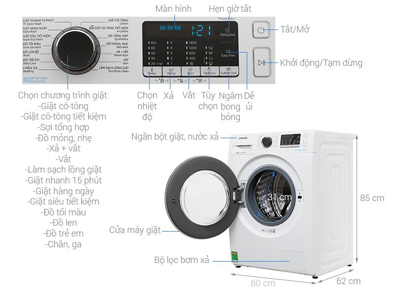 Thông số kỹ thuật Máy giặt Samsung Inverter 9 kg WW90J54E0BW/SV