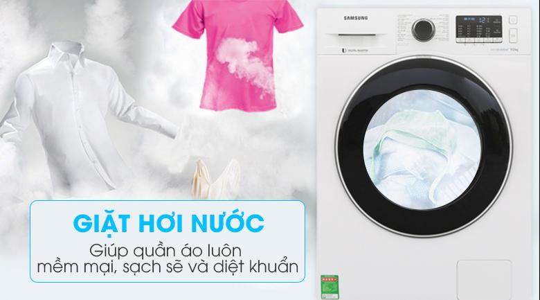 Diệt khuẩn với công nghệ giặt hơi nước - Máy giặt Samsung Inverter 9 kg WW90J54E0BW/SV
