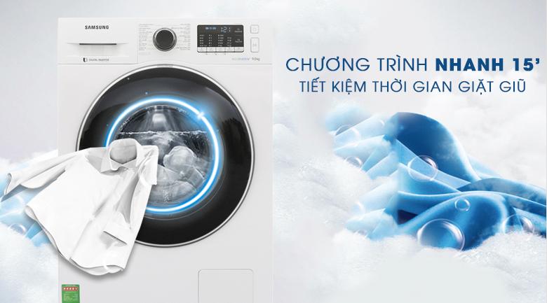 Chương trình nhanh 15 phút - Máy giặt Samsung Inverter 9 kg WW90J54E0BW/SV