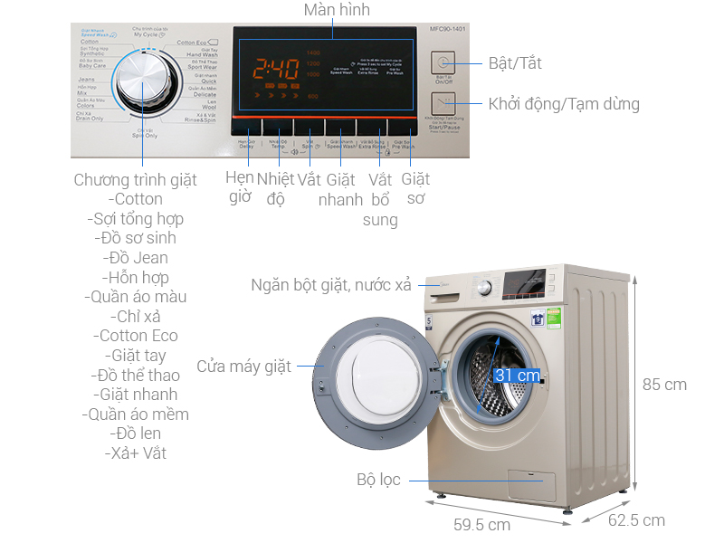 Thông số kỹ thuật Máy giặt Midea 9 kg MFC90-1401
