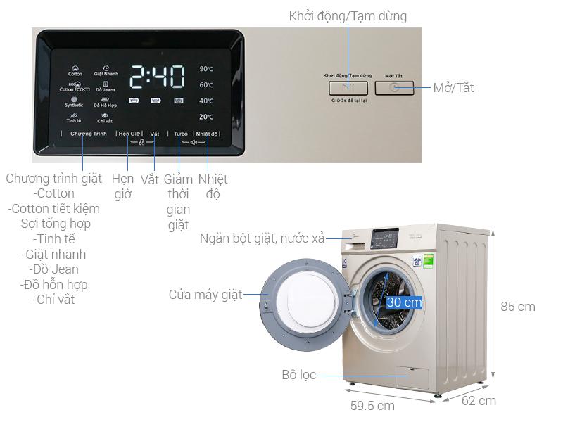 Thông số kỹ thuật Máy giặt Midea Inverter 9.5 kg MFC95-1401IN