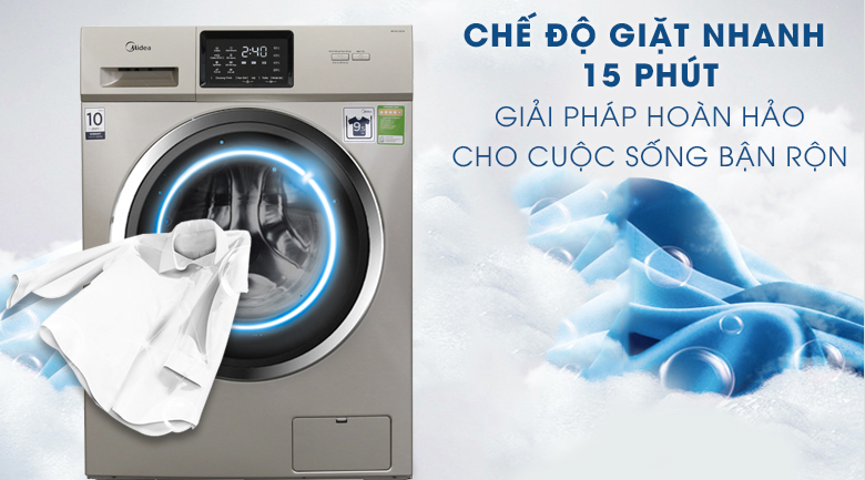 Chế độ giặt nhanh 15 phút - Máy giặt Midea Inverter 9.5 kg MFC95-1401IN