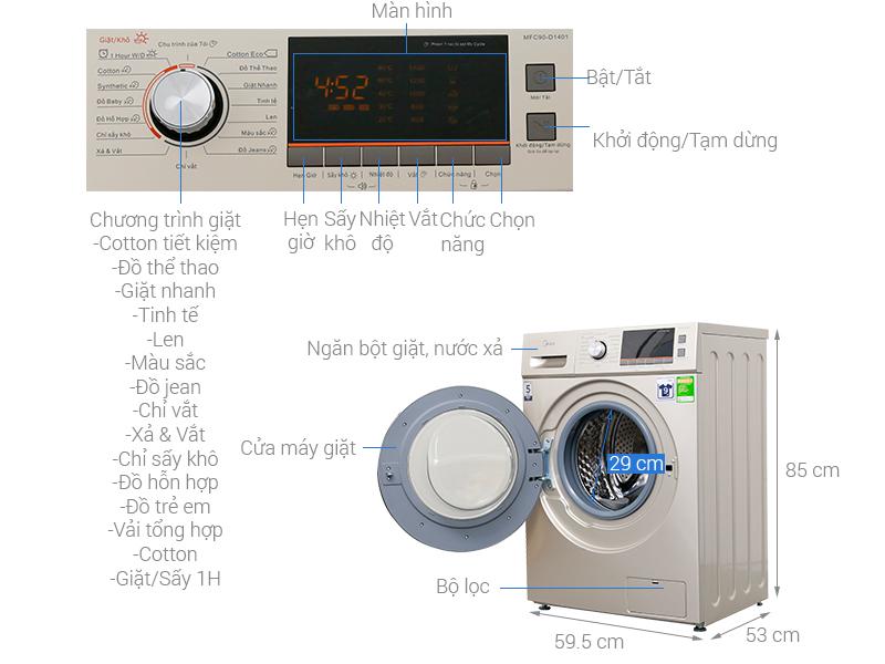 Thông số kỹ thuật Máy giặt sấy Midea 9 kg MFC90-D1401