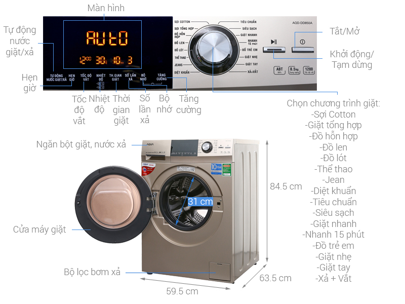Thông số kỹ thuật Máy giặt Aqua Inverter 8.5 kg AQD-DD850A (N2)