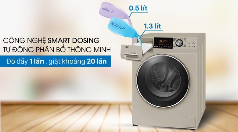 Smart Dosing - Máy giặt Aqua Inverter 8.5 kg AQD-DD850A (N2)