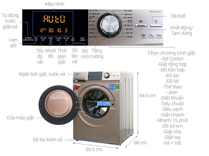 Thông số kỹ thuật Máy giặt Aqua Inverter 10 kg AQD-DD1000A (N2)