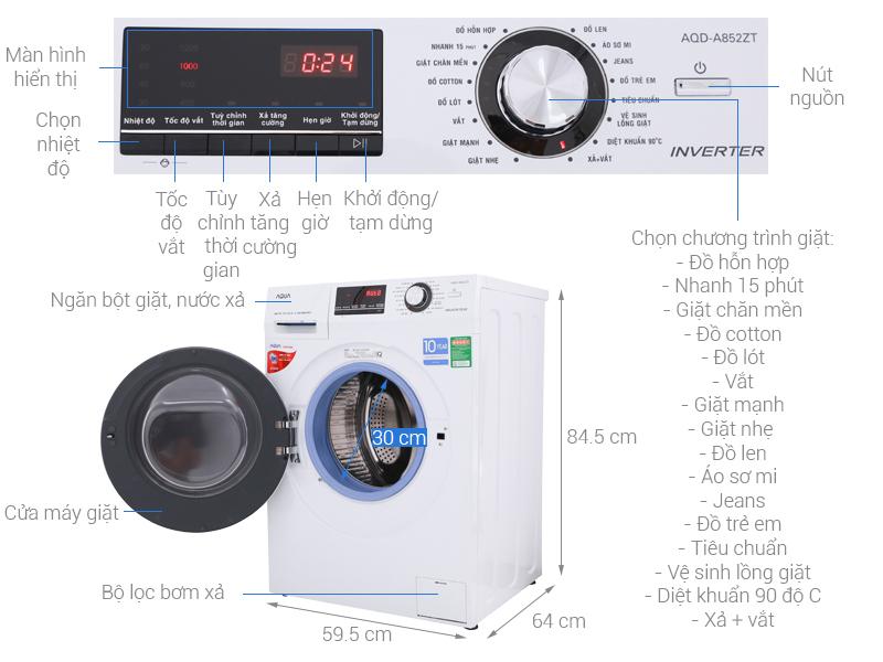 Thông số kỹ thuật Máy giặt Aqua Inverter 8.5 kg AQD-A852ZT (W)