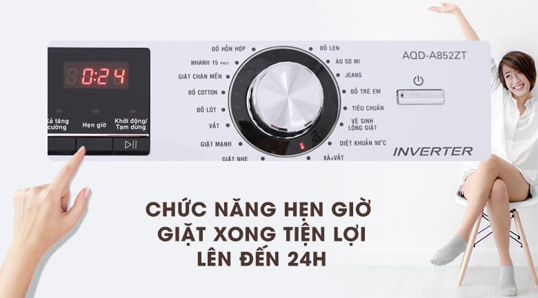 Hẹn giờ giặt - Máy giặt Aqua Inverter 8.5 kg AQD-A852ZT (W)