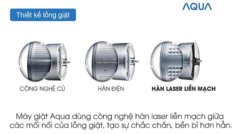 Lồng giặt hàn laser liền mạch - Máy giặt Aqua Inverter 8.5 kg AQD-A852ZT (W)