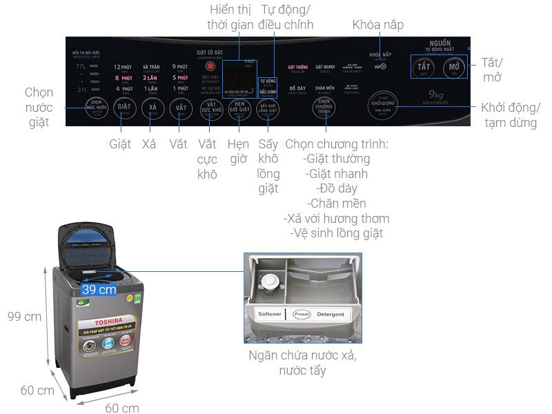 Thông số kỹ thuật Máy giặt Toshiba 9 Kg AW-H1000GV SB