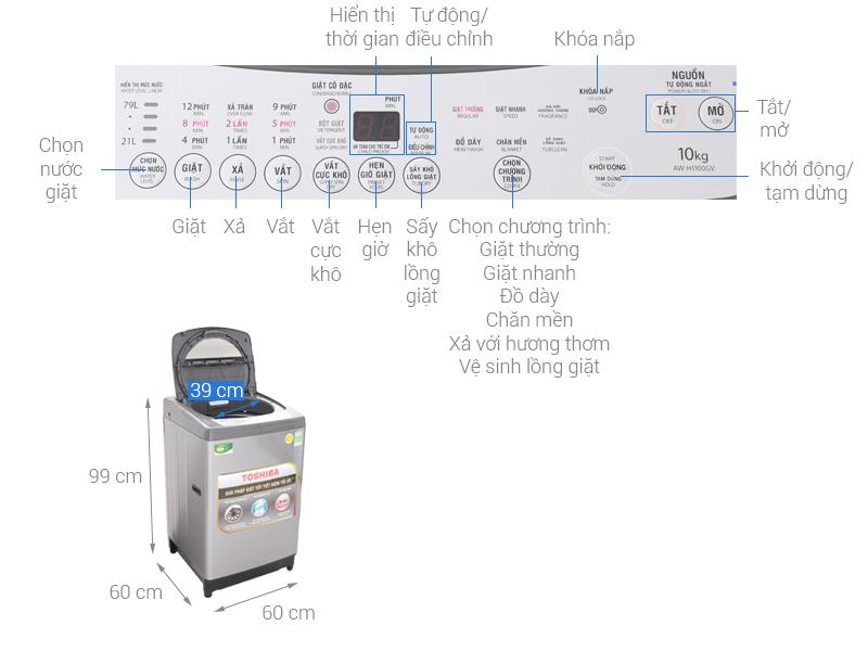 Thông số kỹ thuật Máy giặt Toshiba 10 Kg AW-H1100GV SM