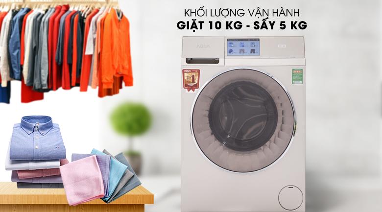 Khối lượng giặt 10 kg, khối lượng sấy 5 kg - Máy giặt sấy Aqua Inverter 10Kg AQD-D1000HT N