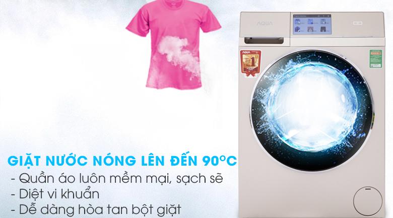 Giặt nước nóng - Máy giặt sấy Aqua Inverter 10Kg AQD-D1000HT N