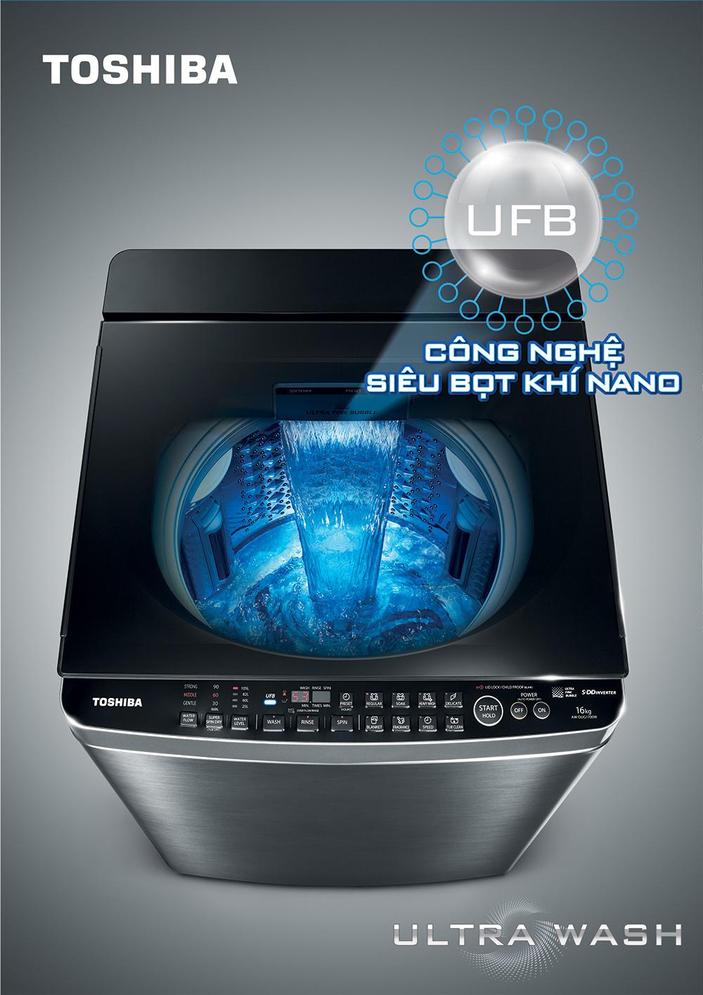 Công nghệ UFB siêu bọt khí Nano - Máy giặt Toshiba Inverter 14 kg AW-DUG1500WV KK