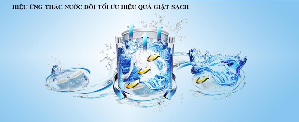 Hiệu ứng thác nước đôi - Máy giặt Toshiba Inverter 15 kg AW-DUG1600WV SK