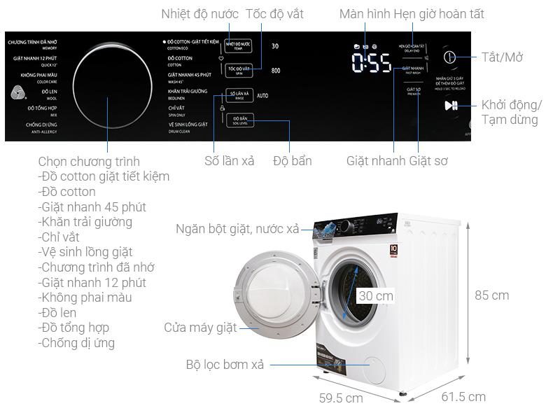 Thông số kỹ thuật Máy giặt Toshiba Inverter 8.5 kg TW-BH95M4V(WK)